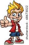 cool cartoon kid making thumbs...