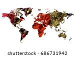 double exposure of world map... | Shutterstock . vector #686731942