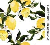 seamless lemon pattern | Shutterstock .eps vector #686733046