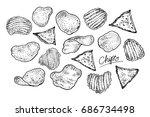chips set. graphic hand drawn... | Shutterstock .eps vector #686734498