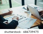business man working with new... | Shutterstock . vector #686739475
