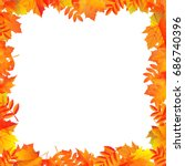 autumn leaves border  | Shutterstock . vector #686740396