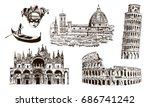 italian architectural symbols ... | Shutterstock .eps vector #686741242