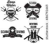 set of scuba diving club and... | Shutterstock .eps vector #686741665