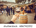 wine glass and many people... | Shutterstock . vector #686742352