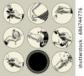 set of round images in vintage... | Shutterstock .eps vector #686744776