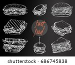 hand drawn sandwiches on the... | Shutterstock .eps vector #686745838