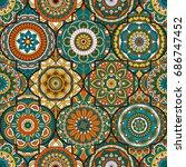 seamless pattern. vintage... | Shutterstock .eps vector #686747452