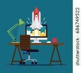 cool flat vector concept on... | Shutterstock .eps vector #686749522