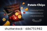potato chips ads. vector... | Shutterstock .eps vector #686751982