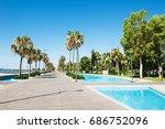 beautiful sea promenade with... | Shutterstock . vector #686752096