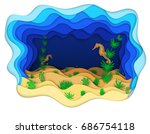 vector illustration of seahorse ...   Shutterstock .eps vector #686754118