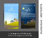 wallpaper forecast for mobile... | Shutterstock .eps vector #686763076