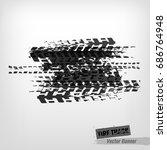 tire tracks print texture.... | Shutterstock .eps vector #686764948