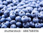 close up of fresh blueberries... | Shutterstock . vector #686768356