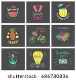 set of summer hand lettering... | Shutterstock .eps vector #686780836