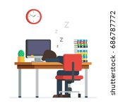 tired man sleeping in the... | Shutterstock .eps vector #686787772