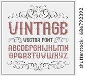 vintage label font. alcohol... | Shutterstock .eps vector #686792392
