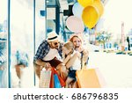 happy family walking along the... | Shutterstock . vector #686796835