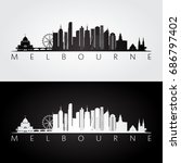 melbourne skyline and landmarks ... | Shutterstock .eps vector #686797402