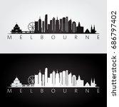 melbourne skyline and landmarks ... | Shutterstock .eps vector #686797402