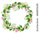 camellia flowers and leaves... | Shutterstock . vector #686802628
