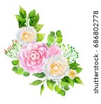 camellia flowers and leaves... | Shutterstock . vector #686802778