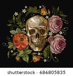 embroidery skull and red roses. ... | Shutterstock .eps vector #686805835