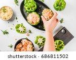 autumn recipes. home stuffed... | Shutterstock . vector #686811502