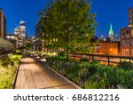 high line promenade at twilight ... | Shutterstock . vector #686812216
