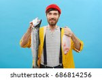 glad male angler with beard and ...   Shutterstock . vector #686814256