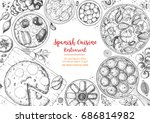 spanish cuisine top view frame. ... | Shutterstock .eps vector #686814982
