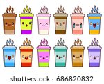 coffee cups icon set characters ... | Shutterstock .eps vector #686820832