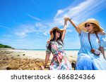 young women asian together in... | Shutterstock . vector #686824366