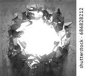 cracked big hole in broken...   Shutterstock . vector #686828212