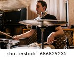 Drummer Rehearsing On Drums...