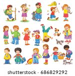 big set of different cute kids... | Shutterstock . vector #686829292