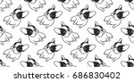 Stock vector dog icon french bulldog illustration vector seamless pattern background wallpaper 686830402