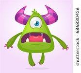 cartoon vector monster. monster ... | Shutterstock .eps vector #686830426