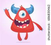 cool cartoon red monster.... | Shutterstock .eps vector #686830462