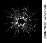 broken transparent glass.... | Shutterstock . vector #686840986