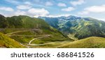 mountain hills glowing in...   Shutterstock . vector #686841526