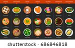 big set of asian food.... | Shutterstock .eps vector #686846818