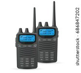 radio transceivers. two black...   Shutterstock .eps vector #686847202