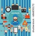 mechanic car service modern...   Shutterstock .eps vector #686850172