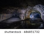 Small photo of Bifurcate tunnel at the Object 221, abandoned soviet bunker, reserve command post of Black Sea Fleet
