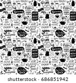 cafe seamless pattern. hand... | Shutterstock .eps vector #686851942