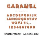 caramel font design. | Shutterstock .eps vector #686858182