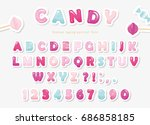 paper cut out sweet font design.... | Shutterstock .eps vector #686858185