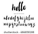 brush pen font design. hand... | Shutterstock .eps vector #686858188